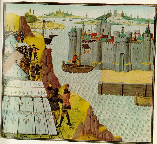 A nice medieval picture with tents. Someone told me that this  comes from the Romance of Alexander, but it doesn't look anything like  the c...
