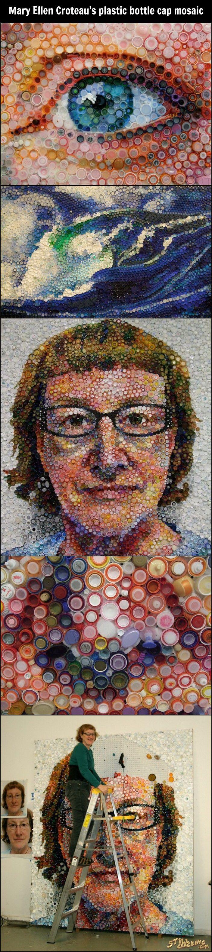 Plastic Bottle Cap Mosaic by Mary Ellen Croteau