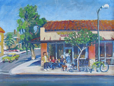 Lisa and Mike Whirlow of Whirlow's Tossed and Grilled, are just 2 of the approximate 300,000 Stockton, California residents who enjoy the area and all of its beautiful surroundings.  for Lisa and Mike (Whirlow's on the Miracle Mile), acrylic/canvas, 54 x 42 cm  Copyright (c) Vanessa Hadady