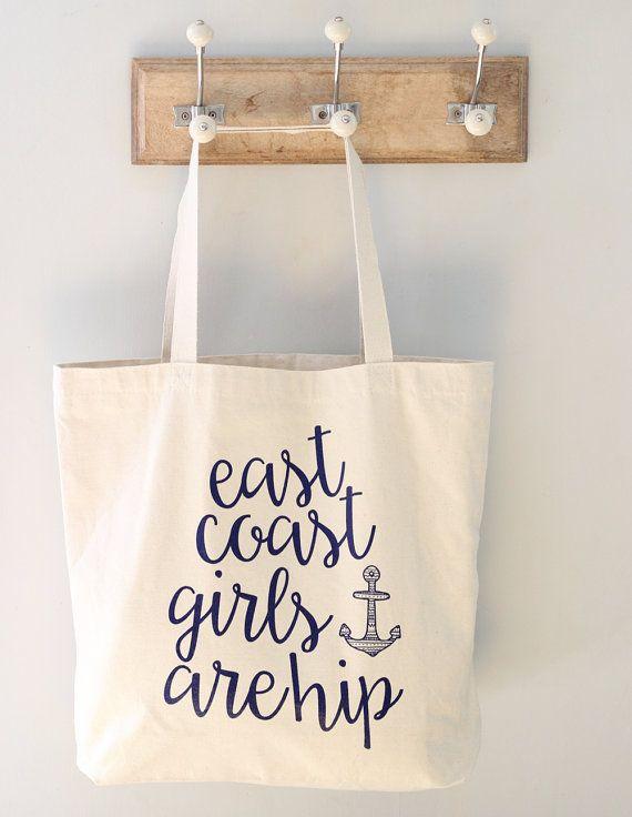 East Coast Tote Bag, East Coast Girls Tote Bag, Nautical Tote Bag, Canvas Tote Bag, Market Tote, Grocery Tote, Shopping Bag, Purse