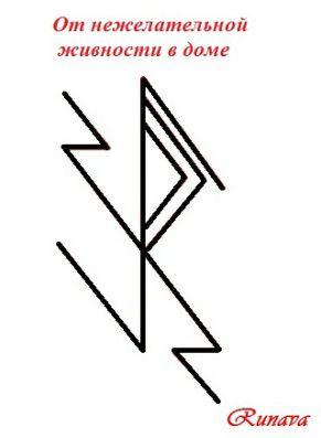 """Eliminar cucarachas y otros bichos molestos. Usado: . """"Desterrar la cruz"""" (Raido + Nauthiz), Thurisaz, Eyvaz y 2 Alma (la imagen de espejo.) Creo que esto pone puedes desterrar todo lo que se pone en su deseo: de cucarachas a los parientes molestos."""