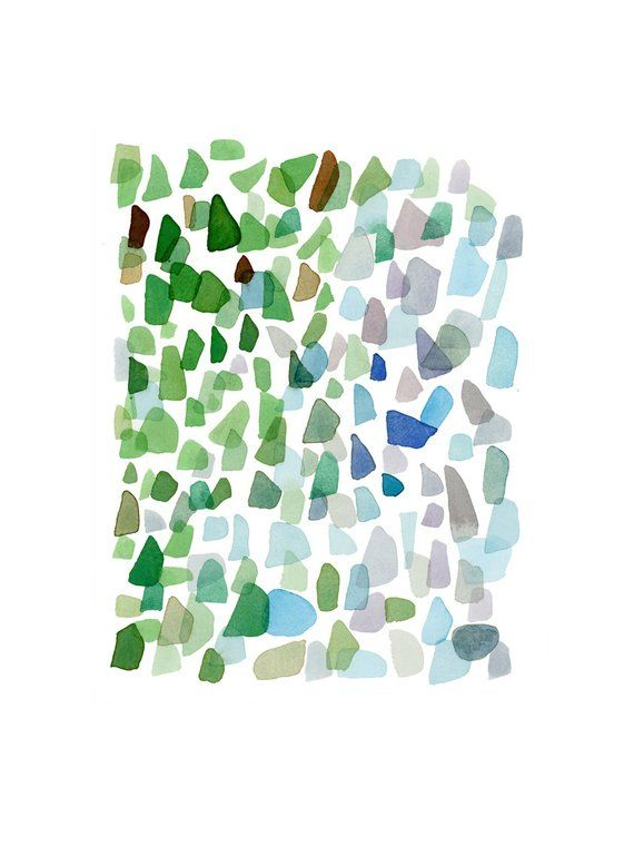 Original Watercolor Painting Sea Glass Art Abstract Painting