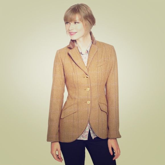 Joules Harkworth Tweed Parade Jacket Fitted riding style jacket. Gorgeous tan and blue tartan. Gold and fox button details. Velvet collar and floral lining. Purchased in London and never worn. Bought the wrong size.  Runs small. Joules Jackets & Coats Blazers
