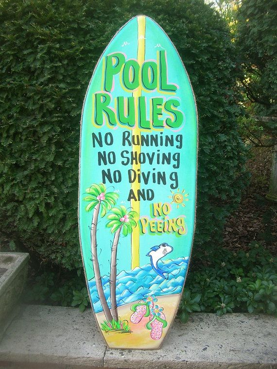 POOL RULES SURFBOARD  Welcome Tropical Paradise Pool Patio