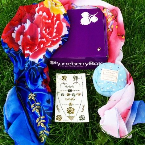 Our June 2015 box is now available for purchase - no subscription necessary! Includes a beautiful chiffon scarf, a headband lined with golden leaves, a cute coin purse, a floral ear cuff, and metallic flash tattoos! Use coupon THANKYOU for an additional 10% off! http://www.juneberrybox.com/june-box-reveal-get-yours-now/