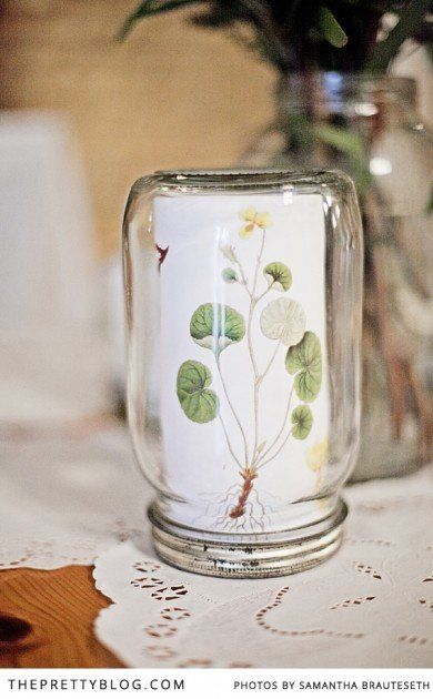 Consol flask with botanical print | DIY wedding idea | Photography & Styling: Samantha Brauteseth, Decor, Styling, Stationary: Helena Brown