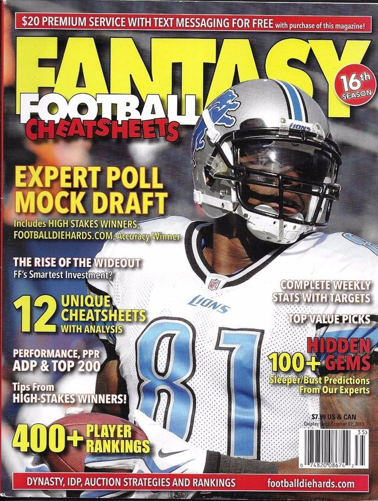 Fantasy Football Diehards magazine Mock draft Stats target and redzone Players