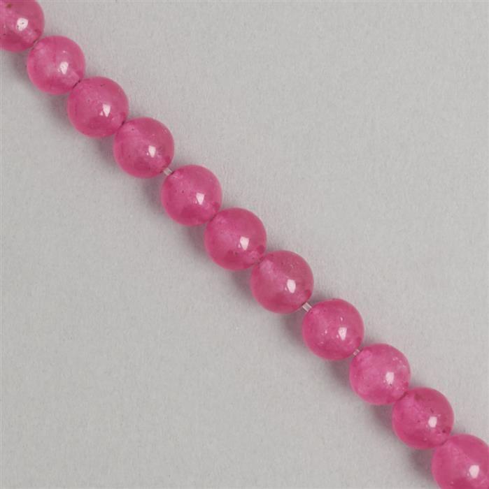 170cts Pink Colour Dyed Quartz Plain Rounds Approx 8mm, 36cm Strand.