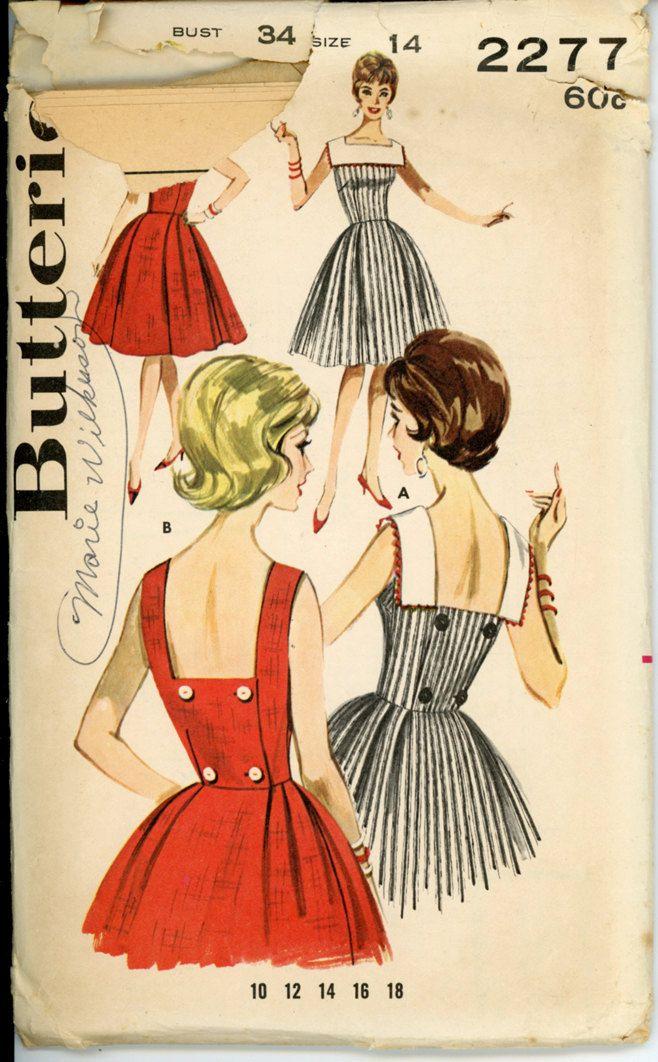 Butterick 2277 Misses 1960s Dress Pattern Sleeveless Low Back Button Full Skirt Wrap Sundress Womens Vintage Sewing Pattern Bust 34 UNCUT.