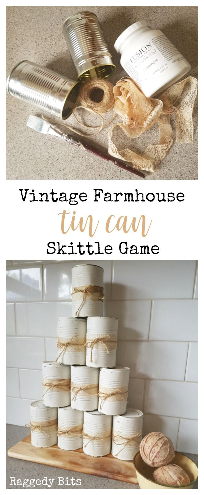 Using some old tin cans make your very own Vintage Farmhouse Tin Skittle Outdoor Game. Perfect for a family game day, wedding or party | Full tutorial | www.raggedy-bits.com