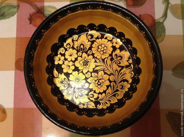 Купить Чаша декоративная - Роспись по дереву, хохломская роспись, для дома и интерьера, подарок на любой случай