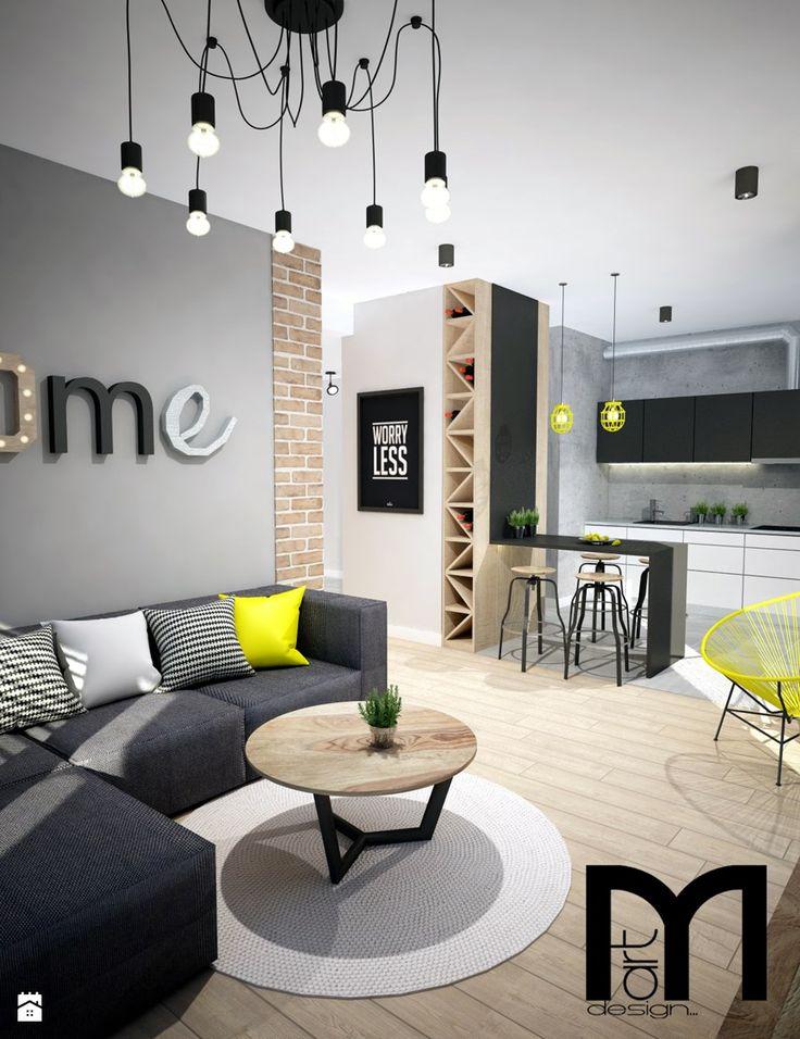 Projekt mieszkania w Warszawie - Salon, styl industrialny - zdjęcie od Mart-Design Architektura Wnętrz