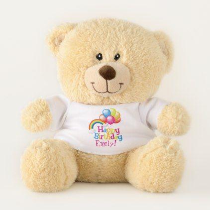 #Custom Name Personalized Happy Birthday Teddy Bear - #birthday #gifts #giftideas #present #party