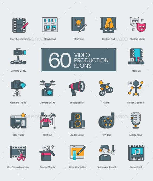 60 Video Production Icons | Icons | 3d film, Icon design