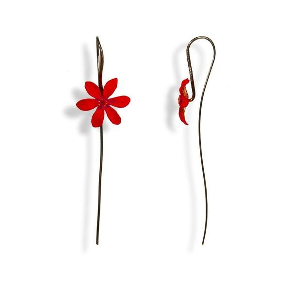 Handmade Black Plated Silver Red Flower Drop Earrings - Anthos Crafts - 1