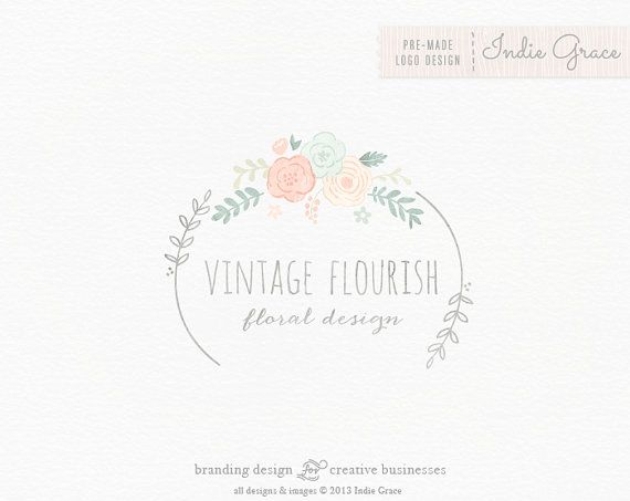 Custom PreDesigned / Watercolor Floral & Laurels Design - Logo (11.6.13) + Nice layout + Nice pastel colors + Name of business stands out & is centered + I like the circular frame & the uniqueness of how it doesn't connect all the way around