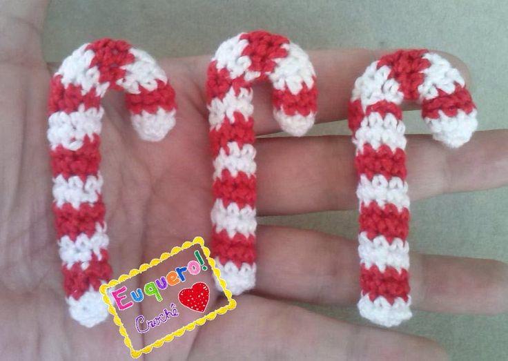 Sweet cane - 3 Bengalas doces feitas em crochê