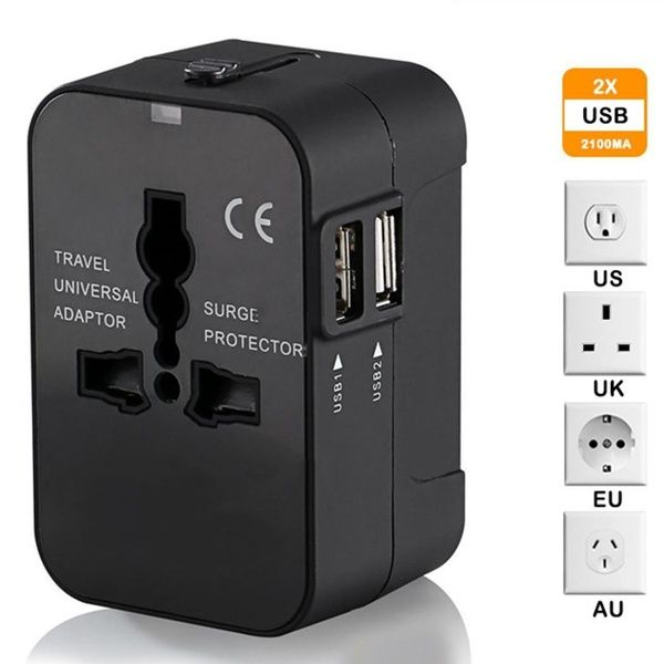 Dual Usb Port 2 1a Universal Ac Power Plug Worldwide Travel Adapter Converter In 2020 International Plug Adapter Universal Power Adapter Travel Adapter Plugs