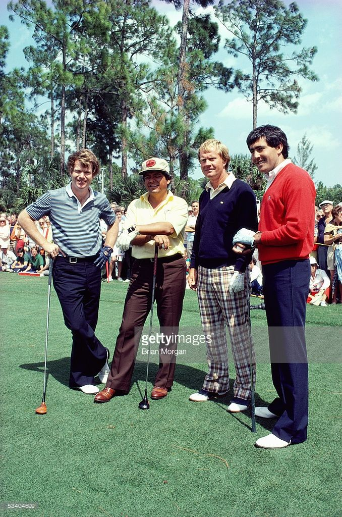 Golfers Tom Watson of the USA, Lee Trevino of the USA, Jack Nicklaus of the USA and Seve Ballesteros of Spain line up before a round of golf.