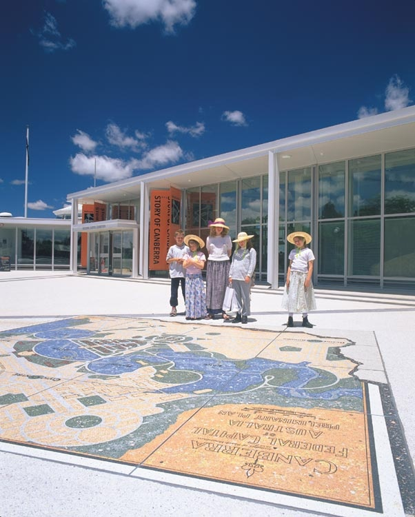 Outside the National Capital Exhibition - a mosaic of the Burley Griffin plan for Canberra