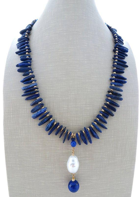 Blue lapis necklace, white pearl pendant necklace, baroque pearl earrings, statement necklace, uk gemstone jewellery, lapislazuli jewelry
