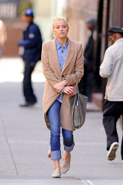 Amber Heard Pastel Coat + Denim