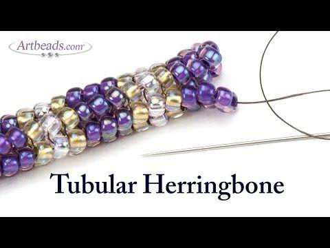 How to Make a Twisted Tubular Herringbone Bicone Bracelet - YouTube