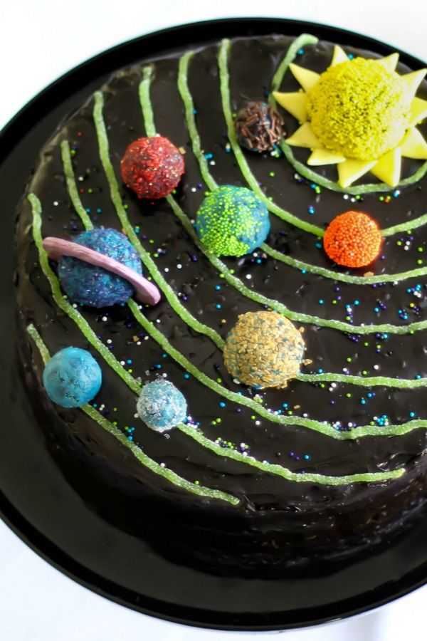 Impress your favorite amateur astronomer with this out-of-this-world dessert. White cake from a mix gets coated with Betty's triple chocolate fudge chip frosting, then decorated with edible neon planets made from candy.