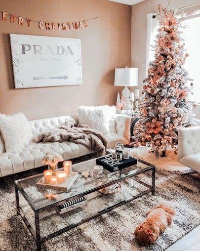 christmas decor inspo  a rose gold christmas  living