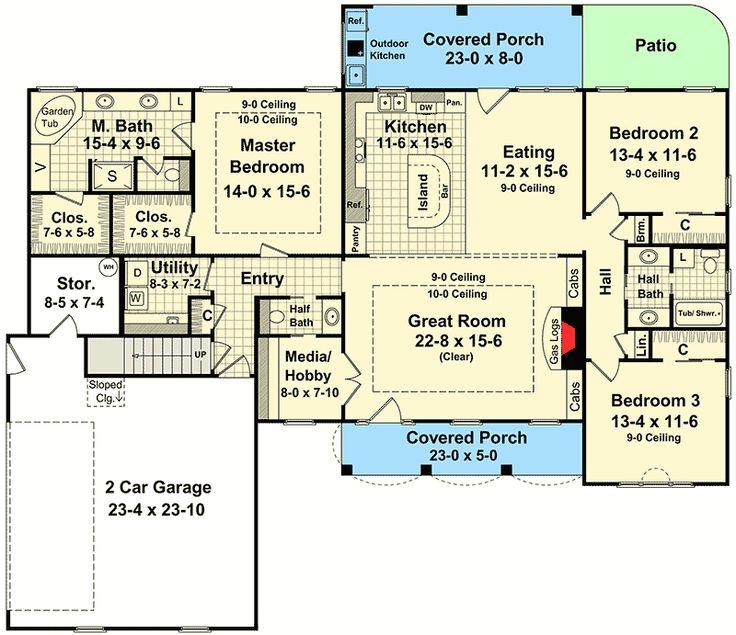 1462 best floorplans images on pinterest traditional for Rear master bedroom house plans