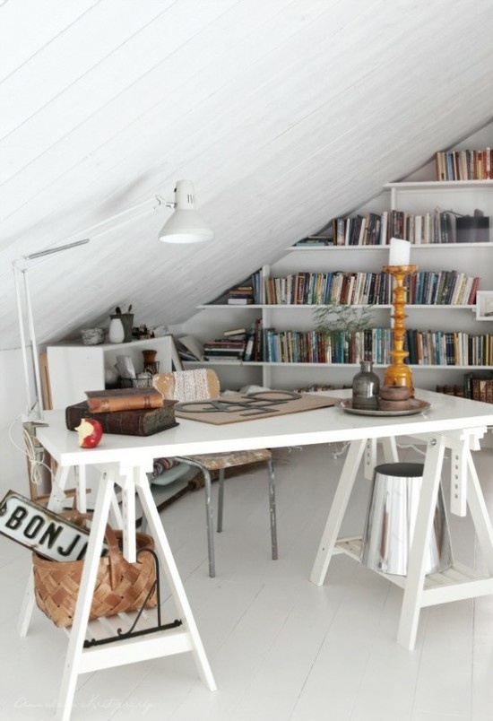 """Attic office...awesome - more similar roofline to ours. Looks like 1/2""""(?) furring strips & vertical plywood boards (name?). Maybe glue plywood together so twice as thick and add edging?"""