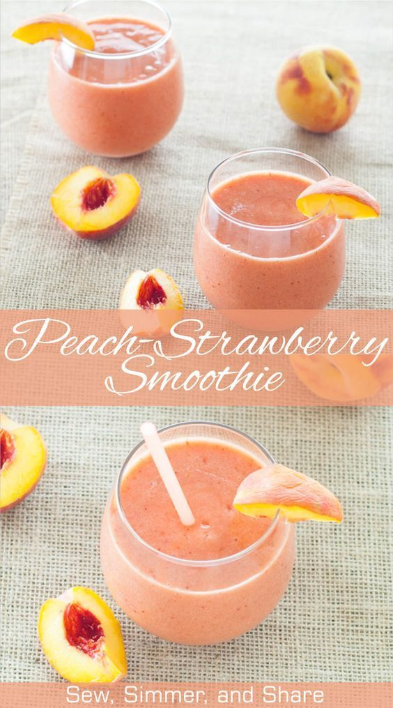 Looking for a quick, delicious breakfast to use up your summer peaches? Try this creamy, peach-strawberry smoothie!