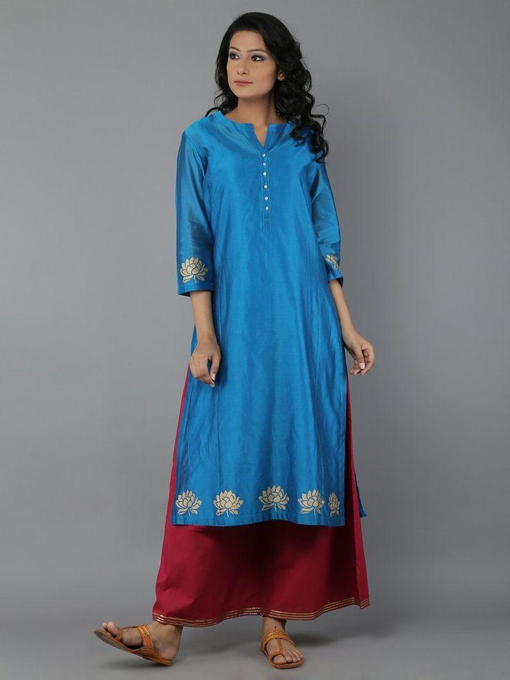 Turquoise Blue Block Printed Chanderi Kurta with Cotton Slip