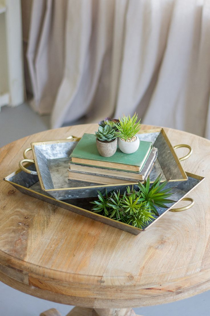 Zinc and Brass Bordered Serving Trays - Set of 2
