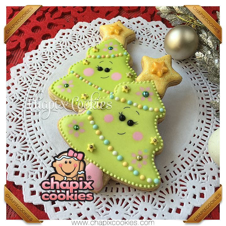 Christmas tree cookies, animated and cute, by Chapix Cookies