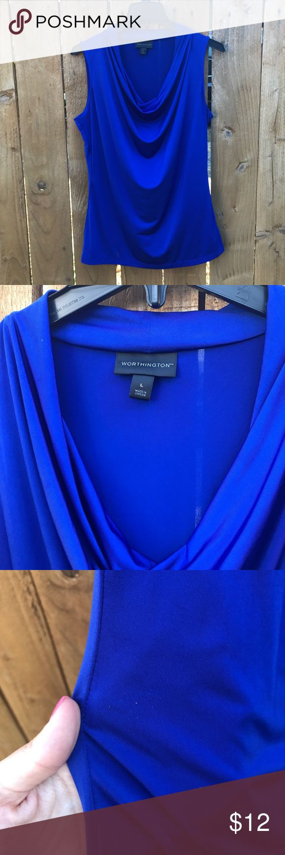 Royal Blue Top Rich royal blue tank top with cascading front. Gorgeous with slacks for work or jeans for a girls night out! Worthington Tops