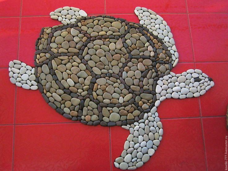 """Купить Каменный коврик """"Черепаха"""" - каменный коврик, массажный коврик, коврик для ванной, морская галька"""
