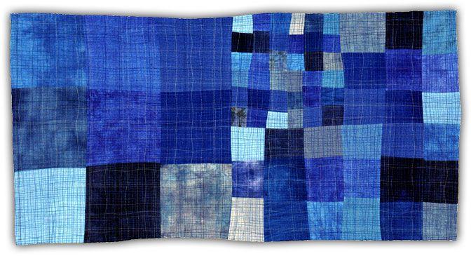 "Eleanor McCain Art Quilts, Blue 1  2004, 22"" x 43""    Eleanor McCain Art Quilts"