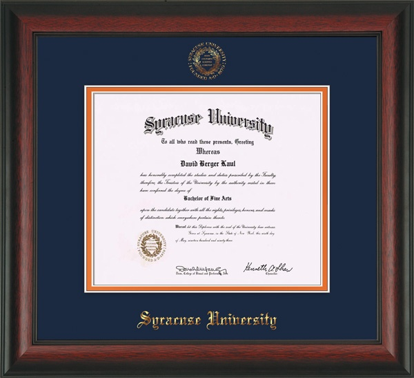 Syracuse University Diploma Frames W Seal Navy On