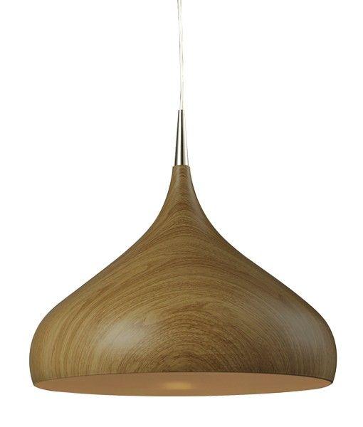 ZARA - Large Oak Wood Dome Shape Pendant - 410mm Diameter