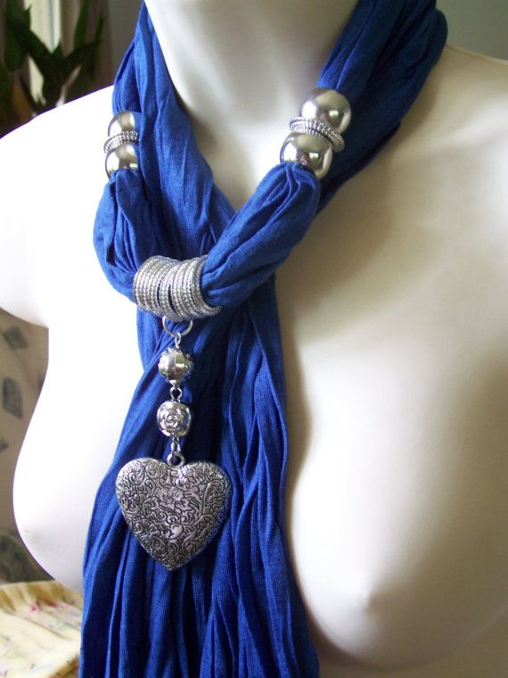 Blue Jewelry Scarf. necklace. scarf necklace. heart pendant. $23.00, via Etsy.