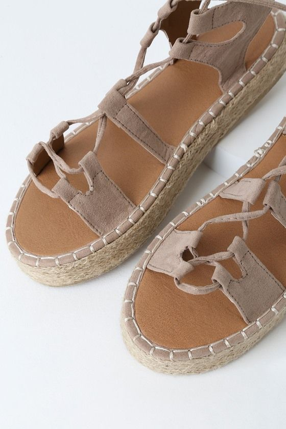 Lulus   Almora Taupe Suede Lace-Up Flatform Espadrille Sandal Heels   Size 10   Beige   Vegan Friendly
