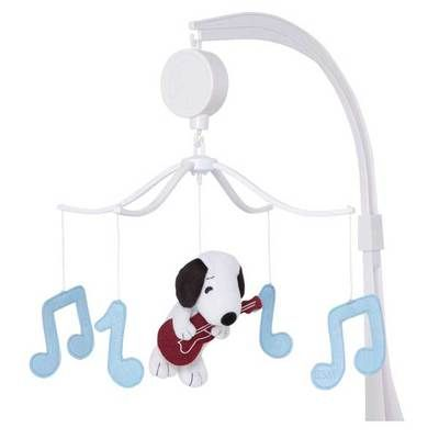Rock 'N Roll White Snoopy w/ Guitar Baby Boys Nursery Musical Notes Crib Mobile on eBay!