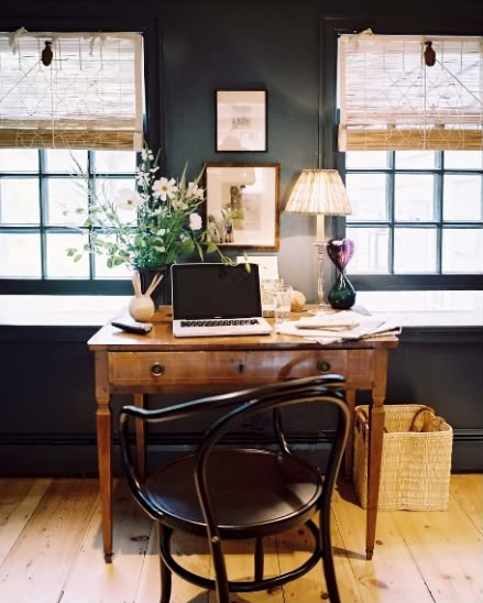 Deborah NeedlemanWall Colors, Black Walls, Offices Spaces, Interiors, Dark Walls, Work Spaces, Workspaces, Desks, Home Offices