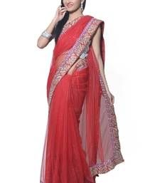 Buy Red color Designer Embroidered Saree With Unstiched Blouse designer-embroidered-saree online