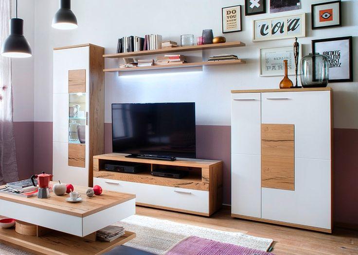 Wohnwand holz eiche  Die besten 25+ Wohnwand weiß matt Ideen auf Pinterest | Küche weiß ...