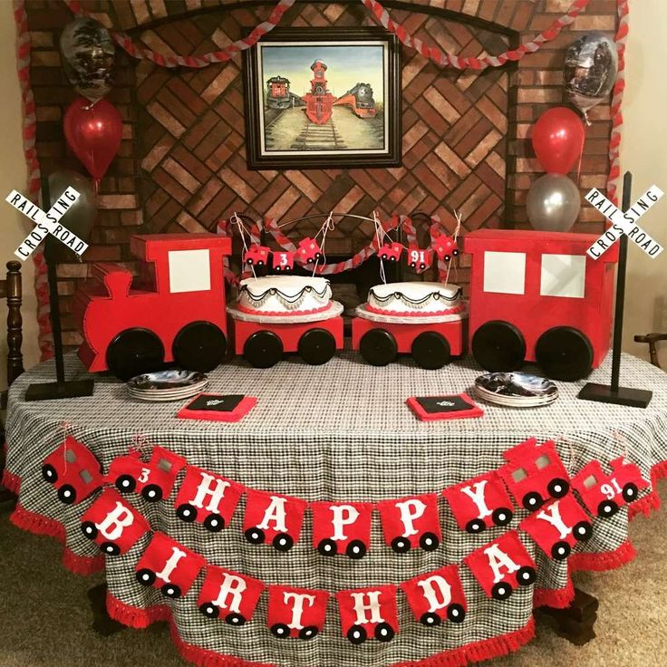 Check out this fantastic Vintage Train Birthday Party! See more party ideas and share yours at CatchMyParty.com #Trains
