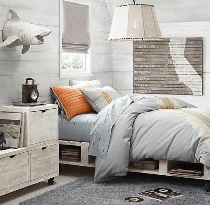 chambre d'ado garcon, tapis gris lustre desgn beige, chambre ado en couleur lin