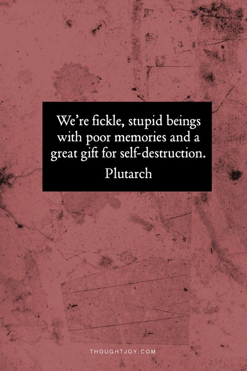 We are stupid fickle beings with a gift for self-destruction.  —  Plutarch
