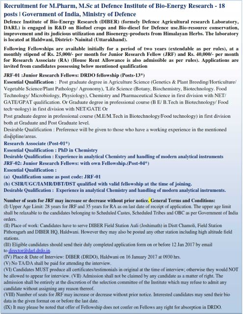 Global Institute of Biosciencse and Technology: Recruitment for M.Pharm, M.Sc at Defence Institute...